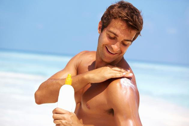 Applying sunscreen